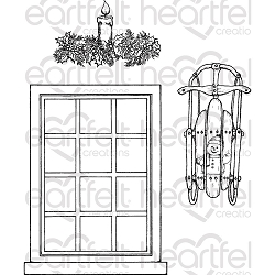 Heartfelt Creations - Winter's Eve Collection - Window Frame Cling Stamp Set