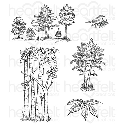 Heartfelt Creations - Woodsy Wonderland Collection - Woodsy Treescape Cling Stamp Set