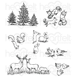 Heartfelt Creations - Woodsy Wonderland Collection - Woodsy Critters Cling Stamp Set