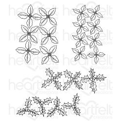 Heartfelt Creations - Poinsettia & Holly Clusters Cling Stamp Set
