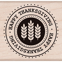 Hero Arts - Wood Mounted Rubber Stamp - Happy Thanksgiving Seal