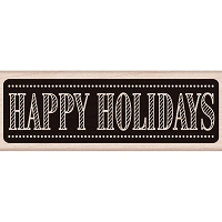 Hero Arts - Wood Mounted Rubber Stamp - Chalkboard Happy Holidays