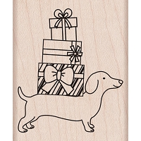 Hero Arts - Wood Mounted Rubber Stamp - Holiday Dachshund