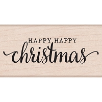 Hero Arts - Wood Mounted Rubber Stamp - Happy Happy Christmas
