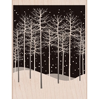 Hero Arts - Wood Mounted Rubber Stamp - Winter Tree Scene