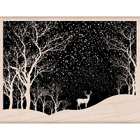 Hero Arts - Wood Mounted Rubber Stamp - Snowy Scene
