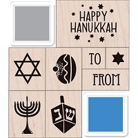 Hero Arts - Wood Mounted Rubber Stamp - Happy Hanukkah set