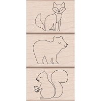 Hero Arts - Wood Mounted Rubber Stamp - Animal Trio by Lia