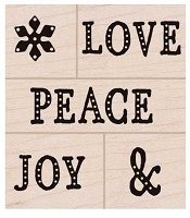 Hero Arts - Wood Mounted Rubber Stamp - Peace, Love, Joy