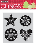 Hero Arts-Cling Rubber Stamp-Snowflakes Shapes