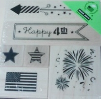 Hero Arts - Wood Mounted Rubber Stamp Set - Happy 4th