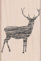 Hero Arts - Wood Mounted Rubber Stamp - Cross-Hatched Reindeer