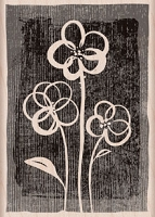 Hero Arts - Wood Mounted Rubber Stamp - Three Brushed Flowers