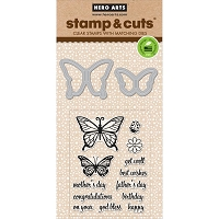 Hero Arts - Stamp & Cut - Butterfly Pair Stamp & Cut
