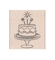 Hero Arts - Wood Mounted Rubber Stamp - Fancy Birthday Cake