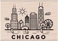 Hero Arts - Wood Mounted Rubber Stamp - Destination Chicago