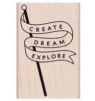 Hero Arts - Wood Mounted Rubber Stamp - Explore Banner