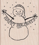 Hero Arts-Wood Mounted Rubber Stamp-Happy Holidays Snowman