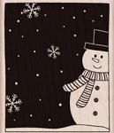 Hero Arts-Wood Mounted Rubber Stamp-Snowman and Snowflakes
