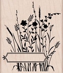 Hero Arts - Wood Mounted Rubber Stamp - Wild Flowers with Label