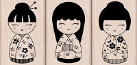 Hero Arts - Wood Mounted Rubber Stamp - Three Japanese Dolls