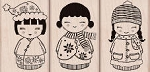 Hero Arts-Wood Mounted Rubber Stamp-Three Christmas Dolls