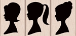 Hero Arts - Wood Mounted Rubber Stamp - Three Silhouettes