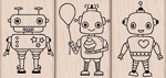 Hero Arts - Wood Mounted Rubber Stamp - Robot Trio
