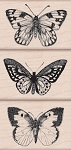 Hero Arts-Wood Mounted Rubber Stamp-Three Artistic Butterflies