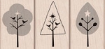 Hero Arts-Wood Mounted Rubber Stamp-3 Trees w/Stars