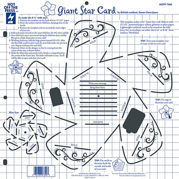 Hot Off The Press 12x12 Template Giant Star Card