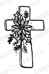 Impression Obsession - Cling Mounted Rubber Stamp - By Lindsay Ostrom - Poinsettia Cross