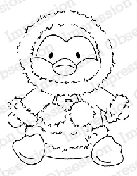 Impression Obsession - Cling Mounted Rubber Stamp - By Alesa Baker - Cuddly Penguin