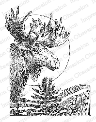 Impression Obsession - Cling Mounted Rubber Stamp - By Gary Robertson - Winter Moose