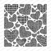Impression Obsession - Cling Mounted Rubber Stamp - Cover A Card - Textured Hearts