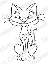Impression Obsession - Cling Mounted Rubber Stamp - By Carmen Medlin - Heart Kitty