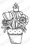 Impression Obsession - Cling Mounted Rubber Stamp - By Lindsay Ostrom - Pot 'o Flowers