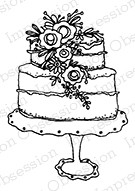 Impression Obsession - Cling Mounted Rubber Stamp - By Lindsay Ostrom - Cascading Flowers Cake