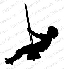 Impression Obsession - Cling Mounted Rubber Stamp - By Dina Kowal - Boy Swing