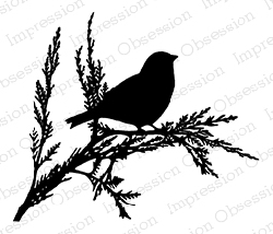 Impression Obsession - Cling Mounted Rubber Stamp - By Tara Caldwell - Single Bird on Branch