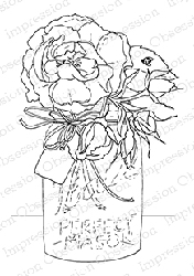 Impression Obsession - Cling Mounted Rubber Stamp - By Dina Kowal - Roses in a Jar