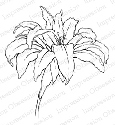 Impression Obsession - Cling Mounted Rubber Stamp - By Tara Caldwell - Open Lacy Lily