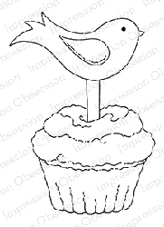 Impression Obsession - Cling Mounted Rubber Stamp - By Tara Caldwell - Bird Cupcake