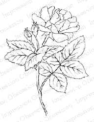 Impression Obsession - Cling Mounted Rubber Stamp - By Tara Caldwell - Rose with Bud