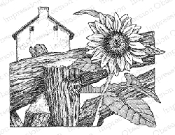 Impression Obsession - Cling Mounted Rubber Stamp - By Gary Robertson - Sunflower Fence