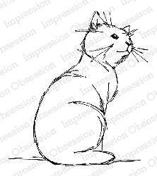 Impression Obsession - Cling Mounted Rubber Stamp - By Dina Kowal - Sketched Cat