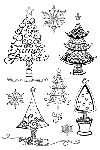 Impression Obsession Clear Stamp - Christmas Trees