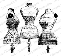 Impression Obsession - Cling Mounted Rubber Stamp - By Dina Kowal - Dress Form Trio