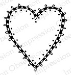 Impression Obsession - Cling Mounted Rubber Stamp - By Lindsay Ostrom - Checked Heart