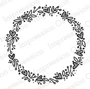 Impression Obsession - Cling Mounted Rubber Stamp - By Lindsay Ostrom - Heart Wreath